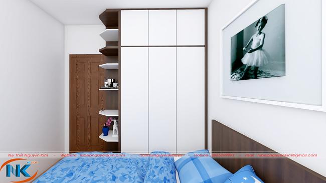 Tủ áo thiết kế một tông màu trắng tinh khiết, hài hòa với không gian chung