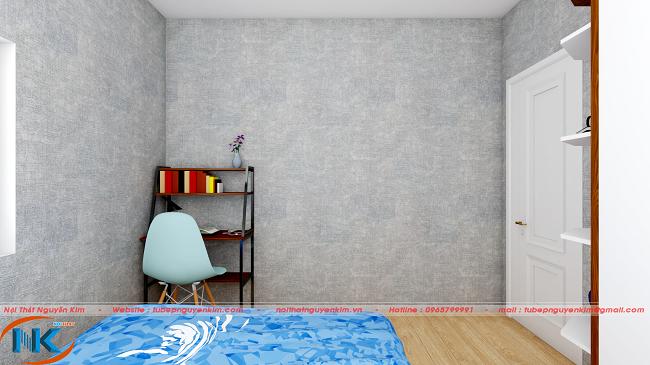 Phòng ngủ master đơn giảm mà đẹp tự nhiên, gọn gàng với giá sách xinh xắn