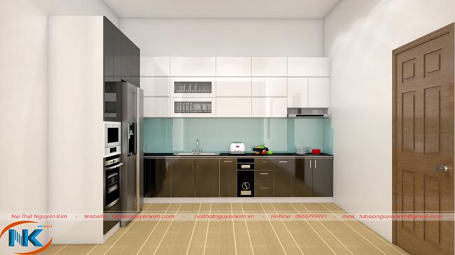 Tủ bếp acrylic chữ L dưới góc nhìn thẳng có chiều sâu cho không gian