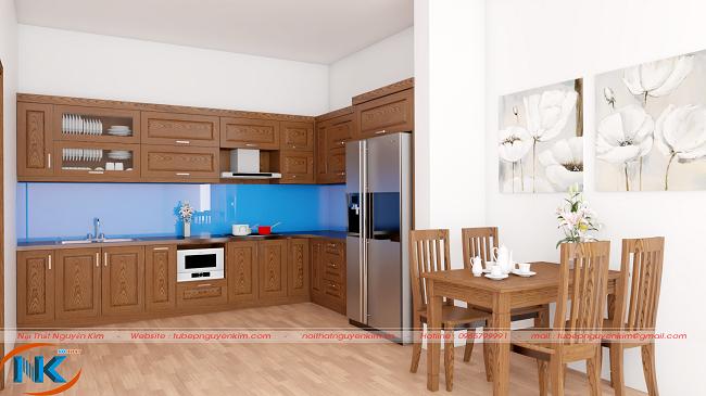Tủ bếp gỗ xoan đào chữ L đơn giản mà sang trọng cho chung cư