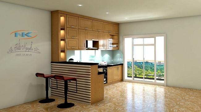 Tủ bếp gỗ sồi nga dễ dàng nhận biết bởi màu sắc