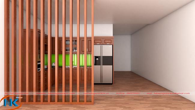 Thêm vách ngăn trang trí ngăn cách giữa tủ bếp và phòng khách rất tuyệt. Tạo không gian riêng tư cho không gian chung cùng màu cánh gián đậm đặc trưng