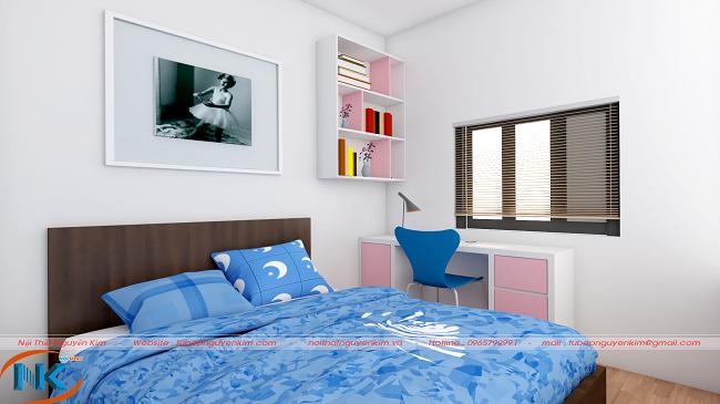 Phòng ngủ chung cư cho bé gái với sự kết hợp màu sắc khá tinh tế. Điểm nhấn chính là màu trắng xen kẽ màu xanh