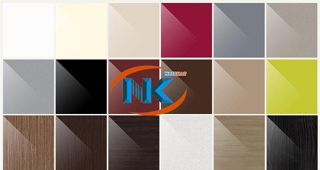 Bảng màu sắc tủ bếp acrylic rất đa dạng, dễ lựa màu hợp mệnh, phong thủy