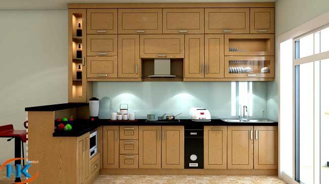 Mẫu tủ bếp sồi nga chữ L với quầy bar này là một lựa chọn tuyệt vơì cho chung cư