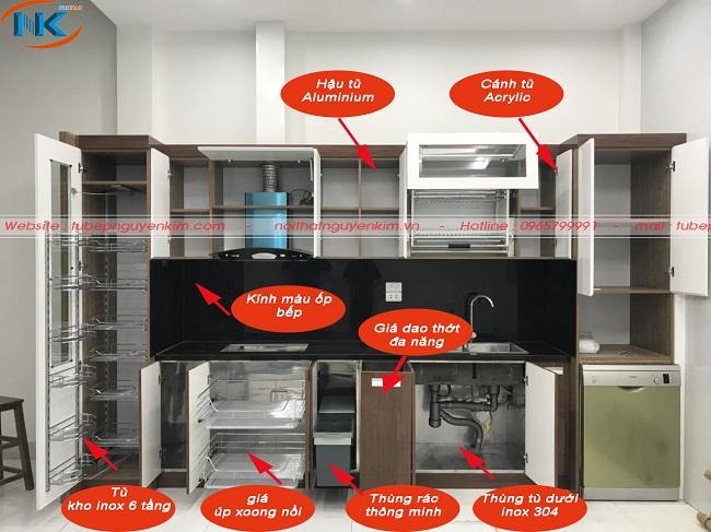 Cấu tạo tủ bếp gỗ acrylic hiện đại full phụ kiện cơ bản nhà bếp cần có