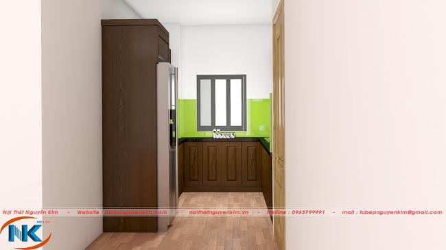 Góc nhìn thẳng vào phòng bếp đẹp, tinh tế của tủ bếp chữ U mà không lãng phí không gian, diện tích bếp