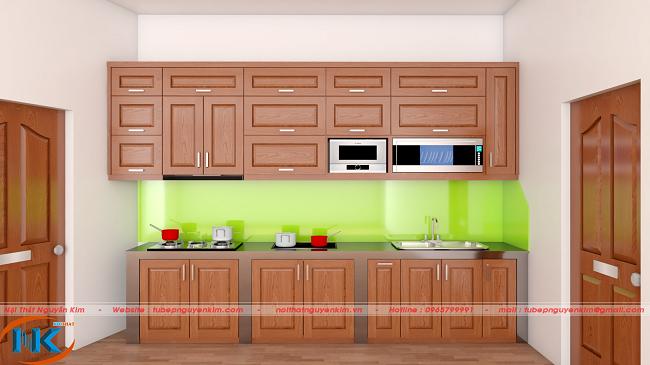 Nếu căn bếp có sẵn bệ cho tủ bếp dưới thì mẫu tủ bếp xoan đào này chính là lựa chọn tối ưu