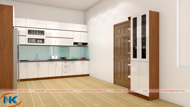Tủ bếp gỗ acrylic màu trắng bóng gương hiện đại cho cả phần tủ bếp trên và tủ bếp dưới