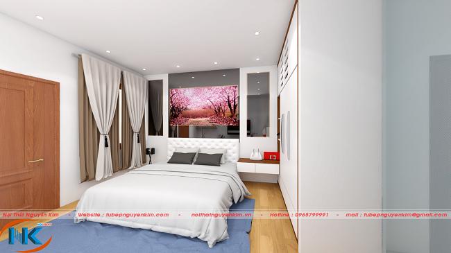 Bức tranh treo tường là điểm nhấn cho mẫu thiết kế phòng ngủ con gái