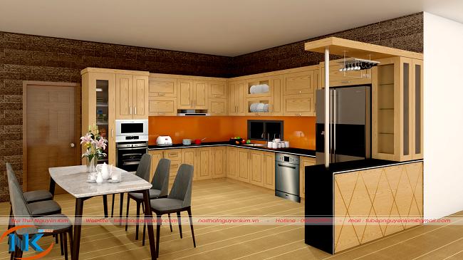 Mẫu tủ bếp gỗ sồi mỹ chữ U hiện đại kết hợp với quầy bar sang chảnh, tiện nghi