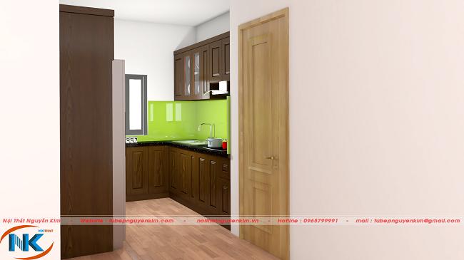 Mẫu tủ bếp gỗ sồi nga TBSN25 dáng chữ U cho phòng bếp chung cư