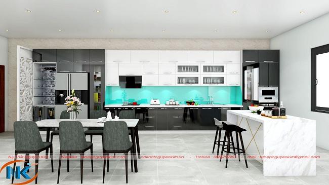 Một mẫu tủ bếp hiện đại chất liệu acrylic có bàn đảo sang trọng, tiện nghi cho không gian bếp