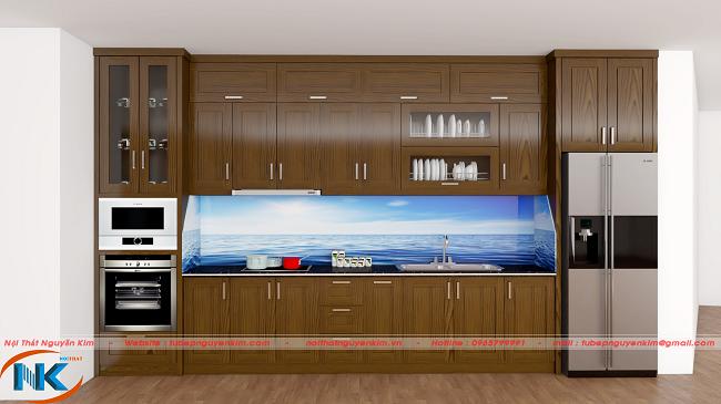 Mẫu tủ bếp gỗ sồi mỹ chữ I màu nâu hạt dẻ sang trọng cho không gian bếp. Hơn nữa, màu hạt dẻ giúp tủ bếp bền màu hơn, luôn luôn mới