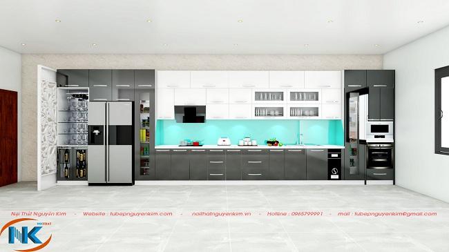 Không gian bếp sang trọng, cao cấp với tủ bếp gỗ acrylic màu trắng kết hợp màu xám và xanh da trời của kính ốp bếp