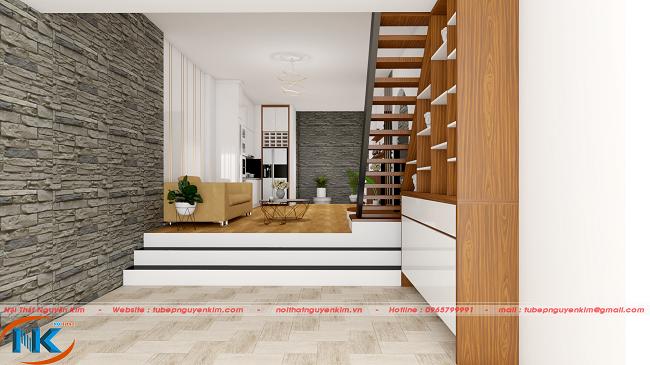 Phòng khách thu hút ánh nhìn khi bước vào từ cửa nhà với cách xắp xếp, bố trí nội thất khoa học