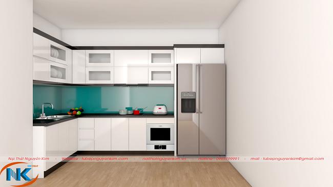 Rất đơn giản, nhẹ nhàng, trắng tinh tế là mẫu tủ bếp acrylic chữ L nổi bật với kính ốp bếp xanh nước biển