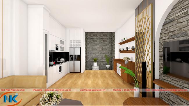 Góc nhìn từ phòng khách, bộ tủ bếp acrylic đẹp hoàn hảo, tôn thêm vẻ sang trọng cho cả phòng khách
