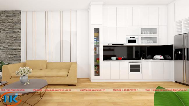 Tủ bếp gỗ acrylic chữ I kịch trần màu trắng nhẹ nhàng, rất hiện đại, hài hòa với không gian chung phòng khách.