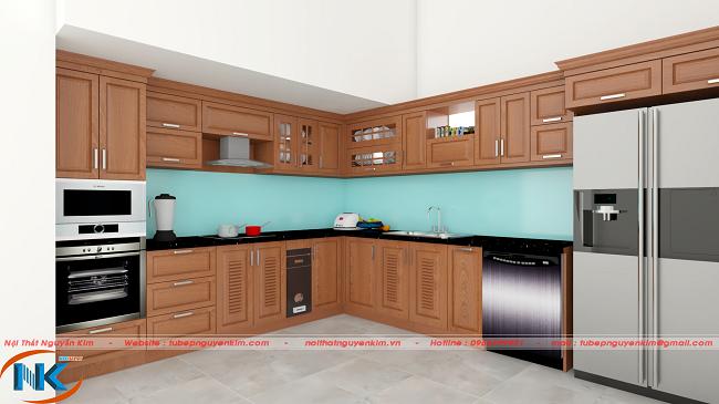 Hình ảnh góc nhìn vuông của bột tủ bếp gỗ xoan đào chữ L . Góc nhìn này, tủ bếp có chiều sâu, không gian rộng rãi, thoáng mát cho căn bếp