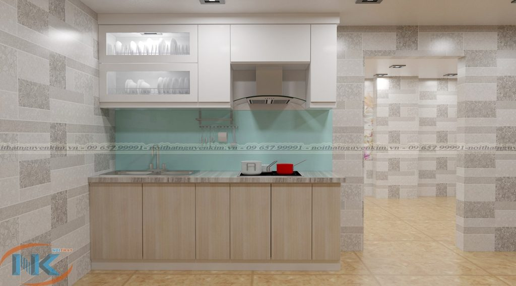 Thiết kế tủ bếp chữ I nhỏ xinh cho phòng bếp nhỏ với đầy đủ chức năng chính của 1 nhà bếp hiện đại