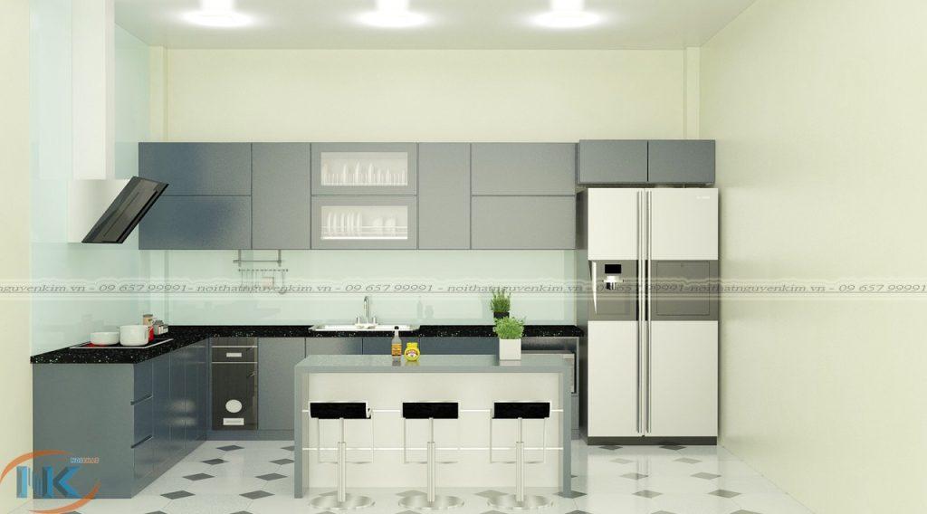Tủ bếp gỗ acrylic chữ L có bàn đảo màu xám rất sang trọng, bóng gương và bền màu