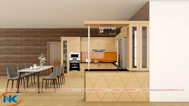 Tủ bếp hiện đại gỗ sồi nga chữ L kết hợp quầy bar có giá treo ly cốc, tủ rượu rất tiện sử dụng