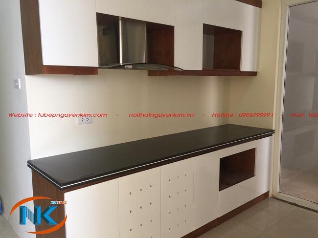Tủ bếp gỗ laminate đã thi công nhà chị Linh FLC Mỹ Đình