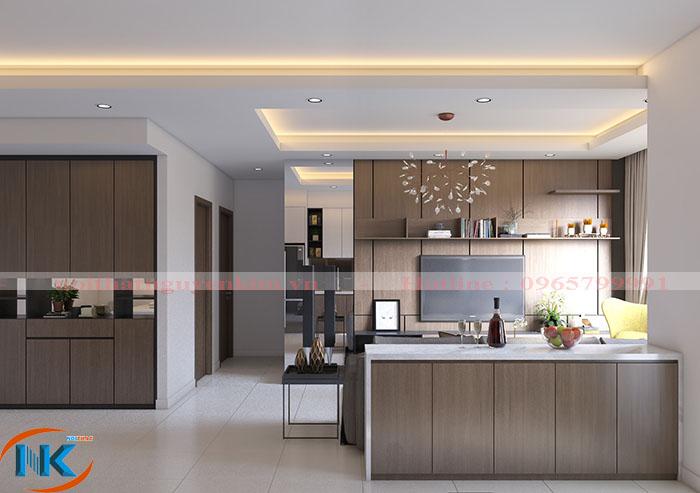 Tủ bếp đảo laminate màu vân gỗ nâu trầm sang chảnh hợp với không gian chung của căn hộ chung cư