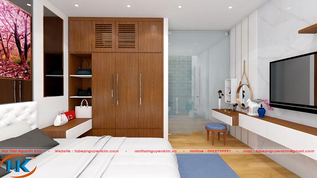 Màu sắc hài hòa giữa tủ áo và giường ngủ mang đến không gian nghỉ dưỡng lý tưởng sau ngày làm việc