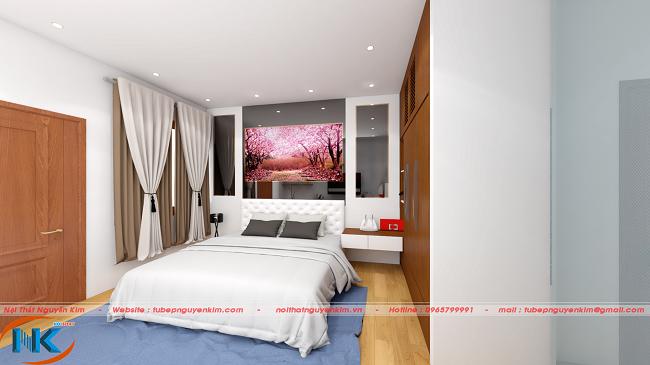 Phòng ngủ master đẹp dịu dàng với màu trắng tinh tế và họa tiết nổi bật chính làn bức tranh treo trên đầu giường