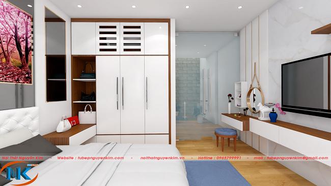 Tủ áo được thiết kế tối ưu công năng, có chỗ để trang trí, kết hợp treo điều hòa phí trên cùng của tủ áo.