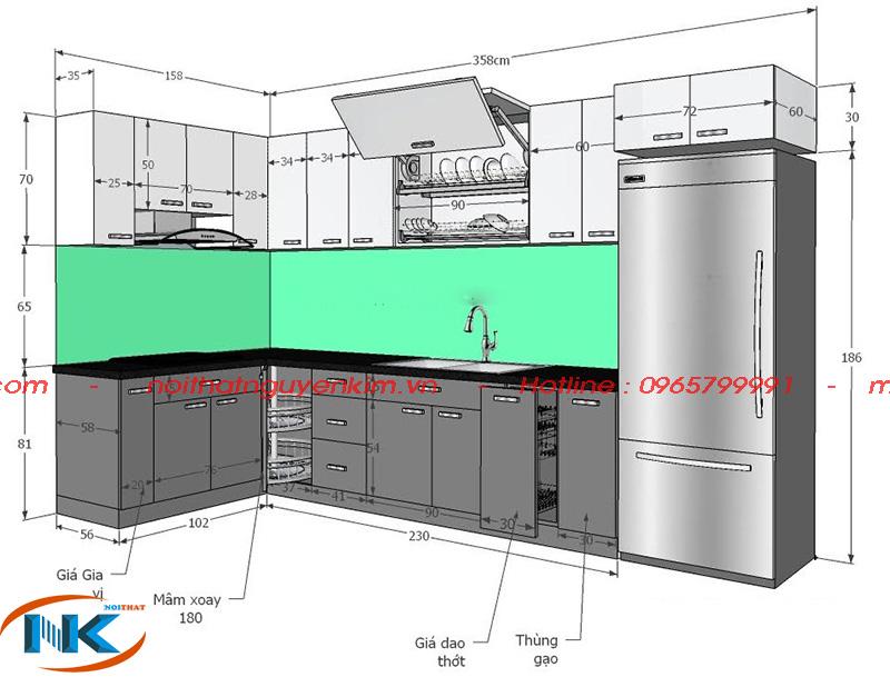 Kích thước của mẫu tủ bếp chữ L full phụ kiện tại Nguyễn Kim