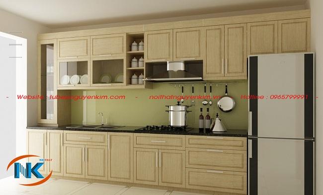 Với mẫu tủ bếp gỗ sồi nga chữ I khá đơn giản này mang đến công năng sử dụng tối ưu cho phòng bếp