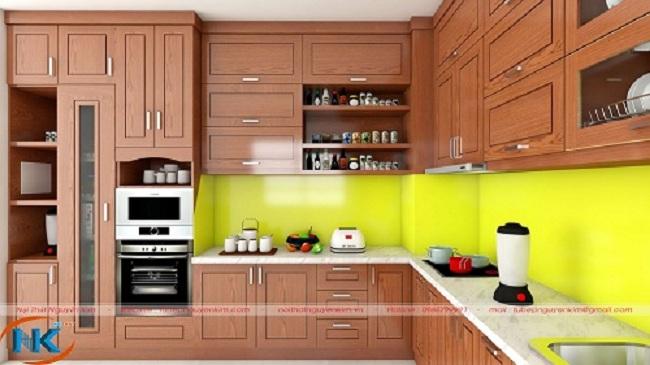Mẫu thiết kế tủ bếp chữ L kịch trần cho không gian bếp rộng hơn, có chiều sâu