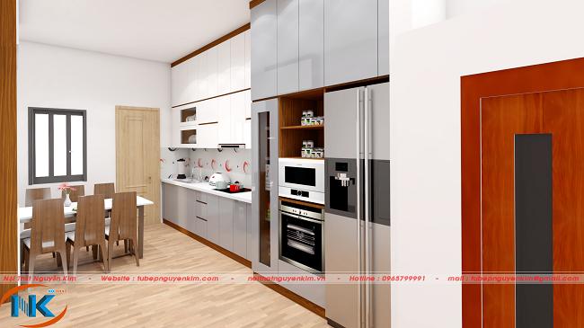 Góc nhìn nghiêng, tủ bếp gỗ acrylic màu trắng rất hiện đại, hài hòa không gian căn hộ chung cư