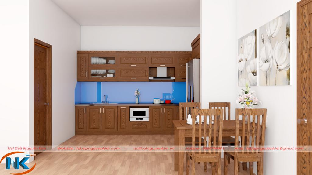 Hoặc bạn có thể sử dụng màu nguyên ban của gỗ sồi nga tự nhiên cho toàn bộ tủ bếp, nội thất căn hộ