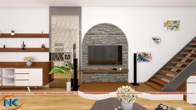 Hình ảnh 3D kệ ti vi, tủ trang trí phòng khách gỗ công nghiệp Laminate