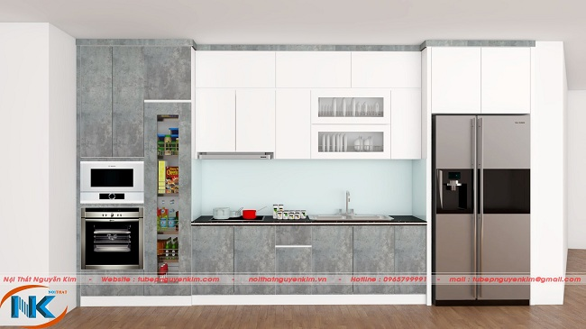 Bạn muốn tủ bếp dưới luôn sach sẽ, lạ một chút tham khảo ngay thiết kế tủ bếp chữ I acrylic với màu rêu đá
