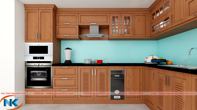 Tủ bếp xoan đào thiết kế tối ưu công năng, phần góc vuông chữ L đem lại cảm giác rộng rãi khi nấu nướng