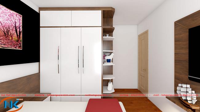 Thiết kế tủ áo cùng kệ trang trí, để đồ rất tiện sử dụng. Đây chính là điểm nhấn cho tủ áo cũng như toàn bộ nội thất phòng ngủ