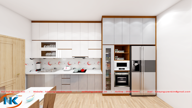Tủ bếp gỗ acrylic màu trắng ACR26 chữ I kịch trần