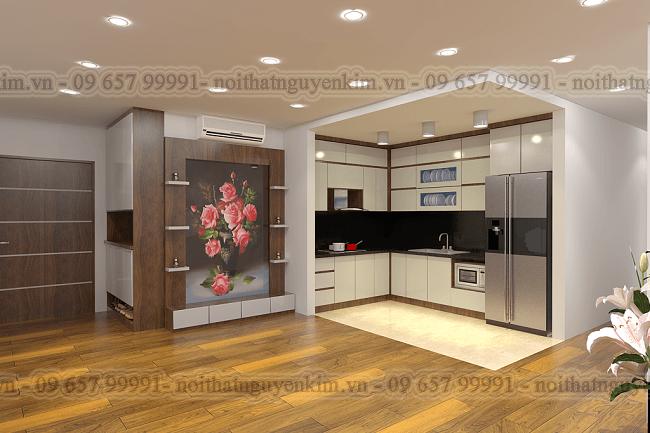 Tủ bếp chung cư cao cấp sử dụng tủ bếp gỗ công nghiệp acrylic chữ L màu trắng hài hòa với không gian chung căn hộ