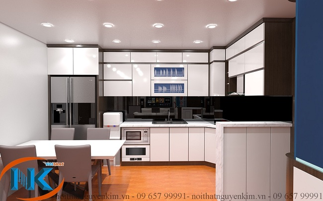 Tủ bếp màu trắng luôn sáng màu, rất sạch sẽ đòi hỏi vệ sinh cẩn thận để tăng độ bền, giữa nguyên màu trắng sáng