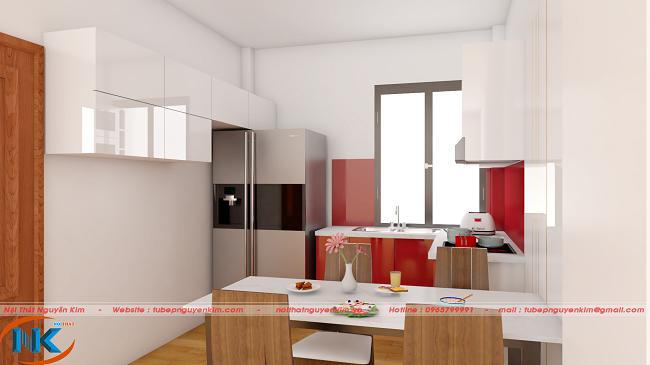 Tủ bếp chữ U thiết kế đơn giản mà hiện đại kết hợp giữa màu trắng và điểm nhấn là màu đỏ