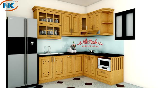 Mẫu thiết kế tủ bếp gỗ sồi nga chữ L xinh xắn, cho không gian bếp diện tích nhỏ