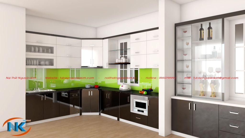 Tủ bếp hiện đại cùng sự kết hợp màu sắc đa dạng, rất hài hòa không kém phần sang chảnh