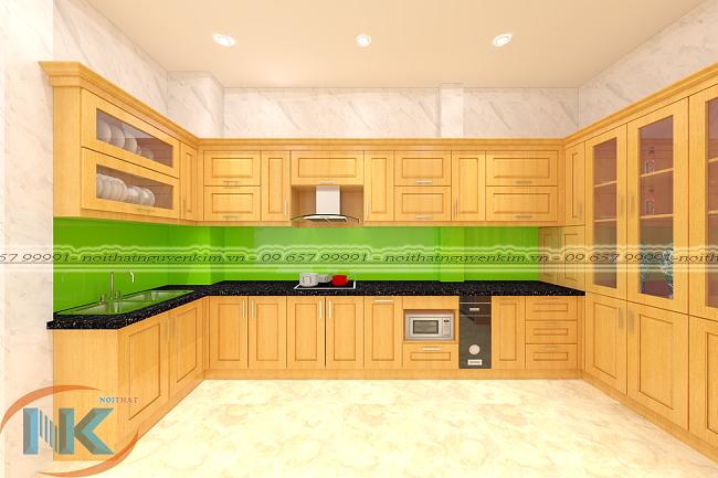 Tủ bếp hiện đại chữ U với tủ trưng bày rượu có làm bạn hứng thú. Bạn muốn thiết kế ngay cho phòng bếp nhà mình không?