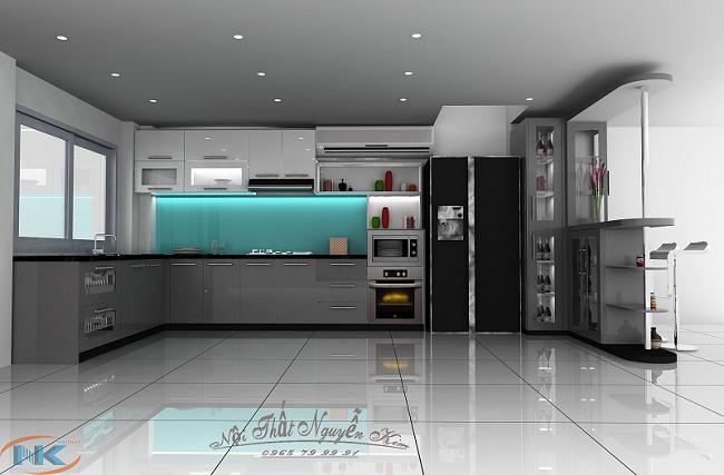 Tủ bếp acrylic chữ L có quầy bar khá sang chảnh và hiện đại. Cùng các phụ kiện, thiết bị nhà bếp cao cấp nhập khẩu châu Âu