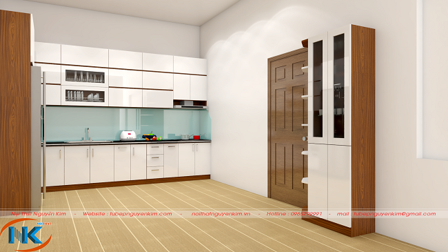 Mẫu tủ bếp gỗ acrylic chữ L màu trắng bóng gương, nhẹ nhàng và tinh tế cho cuộc sống hiện đại